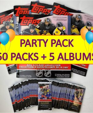 2020-21 Topps NHL Sticker Collection PARTY PACK = 50 Sticker Packs + 5 Sticker Albums