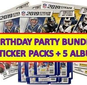 2019 Panini NFL Football Stickers + Card **PARTY/GIFT BUNDLE** (25) Sticker Packs + (5) Albums