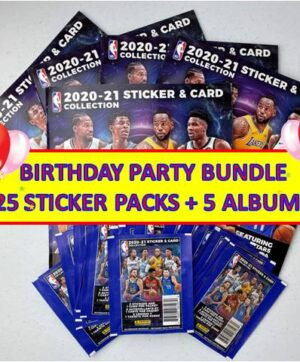 2020-21 Panini NBA Stickers + Card **PARTY/GIFT BUNDLE** (25) Sticker Packs + (5) Albums