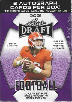 2021 Leaf Draft Football 53 Ct. Premium Hobby Blaster Box - 3 Autographs Per Box
